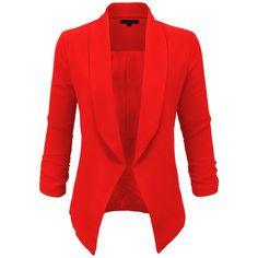 LE3NO Womens Textured 3/4 Sleeve Open Blazer Jacket ($22) ❤ liked on Polyvore featuring outerwear, jackets, blazers, 3/4 sleeve blazer, textured jacket, textured blazer, red jacket and three quarter sleeve blazer