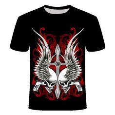 Skull Cross Wing T-Shirt | Skullflow Skull Shirts, 3d T Shirts, Lightin The Box, Boys And Girls Clothes, Cartoon Outfits, Gym Tops, Sport T Shirt, Shirt Men, Herren T Shirt