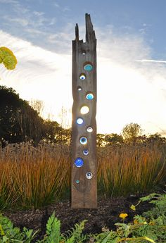 'Big Blue' at Sussex Prairies / Stained glass sculpture by Louise V Durham glass Garden art