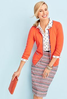 Playful Preppy needs a mix of patterns and colors. Love the tipping on the cardigan.