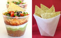 mini seven layer bean dip cups and individual chip bags