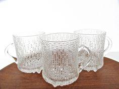 Set Of 3 Iittala Ultima Thule Glass Mugs, Tapio Wirkkala Glass Mugs, Scandinavian Textured Icy Glass Barware by HerVintageCrush on Etsy