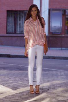 white jeans, striped pajama shirt, Fashion Agony blog