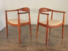 Pair of 1950s Hans Wegner Round Chairs Teak Scandinavian Danish Modern | eBay