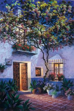 Luis Romero, Spanish painter was born in Ronda, Málaga, Spain. Romero is successful participated in many international exhibitions. Spanish Painters, Spanish Artists, Garden Embroidery, Naive Art, Colorful Garden, Painting Techniques, Belle Photo, Landscape Art, Beautiful Landscapes