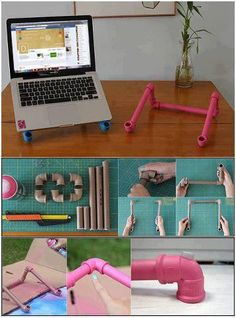 Hmm... I don't think I would place my laptop on that, but it would be cool for a drawing canvas. Love this use of PVC pipes!