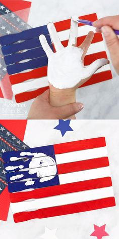 labor day crafts for kids This American Flag Handprint Craft for Preschoolers is such a cute patriotic keepsake made using paint sticks! Daycare Crafts, Baby Crafts, Toddler Crafts, Cute Crafts, Crafts To Do, Preschool Crafts, Creative Crafts, Painting Crafts For Kids, Ocean Crafts