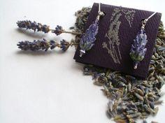 Lavender Glass Bead Earrings in Purple Rose by LavenderJewelry