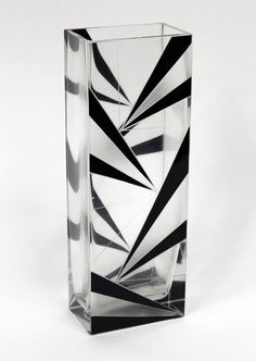 Art Deco vase by PALDA, Karl :: A cut and enameled in black glass vase. Made in Bohemia Circa: 1930