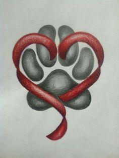 ●‿✿⁀Pawprints on my heart✿⁀● Dog Tattoos, Animal Tattoos, Body Art Tattoos, Tatoos, Dog Memorial Tattoos, Amor Animal, Love Dogs, Tatoo Art, Dog Paws