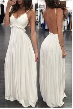 White Spaghetti Straps Chiffon Backless Long Prom Dress, Shop plus-sized prom dresses for curvy figures and plus-size party dresses. Ball gowns for prom in plus sizes and short plus-sized prom dresses for Spaghetti Strap Wedding Dress, Wedding Dresses With Straps, Spaghetti Straps, Summer Beach Wedding Dresses, Dress Wedding, Shower Dresses, Evening Dresses, Formal Dresses, Homecoming Dresses