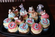 Cats and dogs fondant cake toppers for my little girls 2nd birthday party.