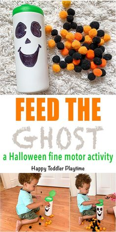 Feed the Ghost Fine Motor Activity - HAPPY TODDLER PLAYTIME Create a fun Halloween fine motor toddler activity using recycled materials and pom poms! It's a great not too scary Halloween activity for little ones! #halloweenactivities #toddleractivity #pompoms