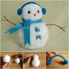 How to DIY Pom Pom Snowman   www.FabArtDIY.com LIKE Us on Facebook ==> https://www.facebook.com/FabArtDIY