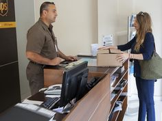 Dropping a parcel off at UPS store in the USA