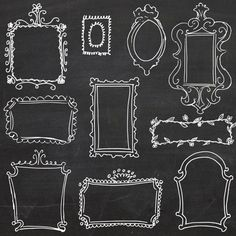 Chalkboard Doodle Frames // Photoshop Hand Drawn // DIY Wedding Photos // Photography Design Elements // Black board Chalk // Commercial Use…