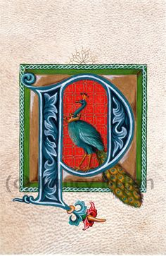 Medieval Illuminated Letter P, Alphabet Letter P, Painted Initial P, Medieval Alphabet, Childs Name