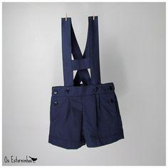 Boy Shorts Overalls   Navy Blue cotton twill by OsEstorninhos