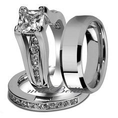 Couple 3 pcs His Tungsten Her Bridal Stainless Steel Engagement Wedding Ring Set