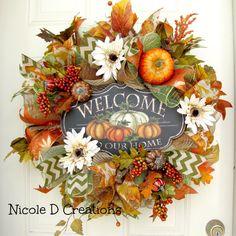 Fall Wreath Thanksgiving Wreath Deco Mesh by NicoleDCreations