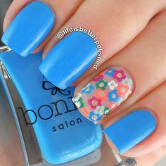 Blue and flowers nails. Nail art. Nail design. Bonita Polish. Polishes. by @lifeisbetterpolished
