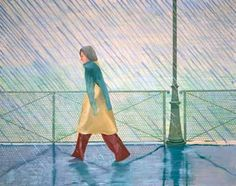 DAVID HOCKNEY: PAINTINGS.  Yves Marie in the Rain, 1973  oil on canvas, 48x60 in.