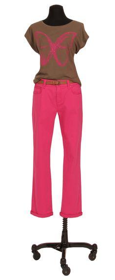 1.2.3 Paris - Tee-Shirt Vol 35€ Pantalon Vanille 69€ #kaki #rose #taupe #papillon #fuchsia #mode #printemps #ete #123