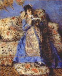 < 르누아르 '책 읽는 모네 부인' (1873) > 책을 읽고 있는 카미유를 그린 작품으로 밝은 색깔이 주로 사용되고 있다. 배경의 벽지와 카미유가 입은 하늘색의 옷은 카미유를 모델로 그린 다른 작품에서도 똑같이 등장한다. 또한 소파의 무늬와 벽에 장식된 일본 부채는 이 당시 유행한 일본풍을 잘 드러내고 있다.