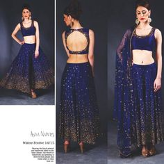 Gorgeous Lehenga and backless blouse, in royal blue and gold shimmer, via Blouse Back Neck Designs, Sari Blouse Designs, Fancy Blouse Designs, Blouse Patterns, Blouse Styles, Choli Designs, Lehenga Designs, Pakistani Outfits, Indian Outfits