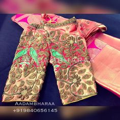 Beautiful bridal designer blouse with floret lata and parrot design hand embroidery gold thread work. Kids Blouse Designs, Hand Work Blouse Design, Saree Blouse Neck Designs, Bridal Blouse Designs, Blouse Patterns, Traditional Blouse Designs, Maggam Work Designs, Indie, Bollywood