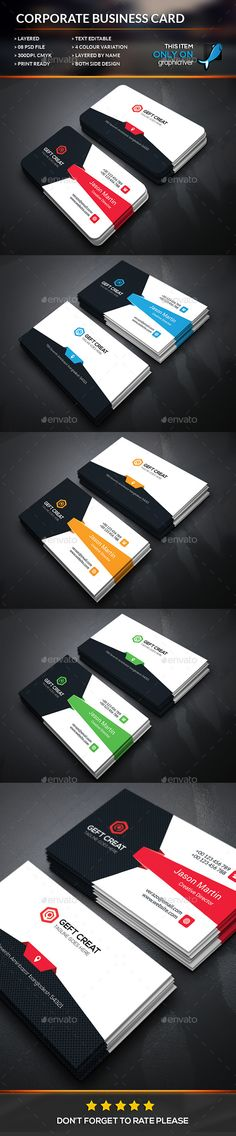 Modern Corporate Business Card Template #visitcard #design Download: http://graphicriver.net/item/modern-corporate-business-card/12579909?ref=ksioks