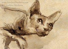 Sphynx cat ink