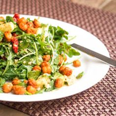 Vegan Arugula Salad with Quinoa Avocado Chickpea Croutons is full of delicious flavors and makes for a perfect lunch or dinner meal. Gluten-Free too.