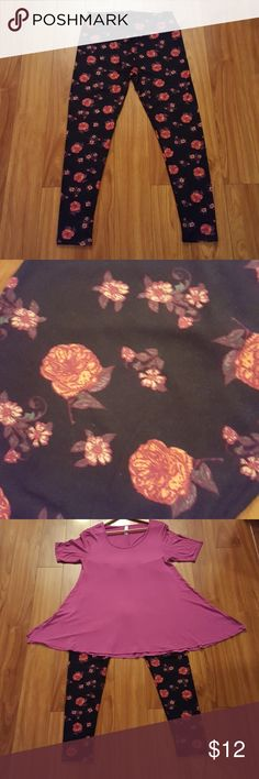 LULAROE TC LEGGINGS IN BLACK WITH PINKY PEACH ROSE These TC leggings are in perfect condition and butter soft! Black background with pink, red, and peach colored roses with a little touch of green and white. These leggings look great with the Jam colored perfect tee that is also posted in this closet. See 3rd pic.  Smoke free home.  Like new. Cared for per LLR instructions. LuLaRoe Pants Leggings