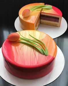 Sunset Tulip Cake uploaded by RossieM. Pretty Cakes, Beautiful Cakes, Amazing Cakes, Birthday Cake Decorating, Cool Birthday Cakes, Birthday Cupcakes, Mirror Glaze Cake, Mirror Glaze Wedding Cake, Mirror Cakes