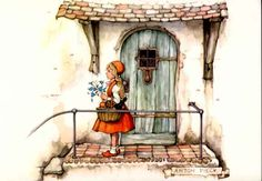 Roodkapje/ Little red riding hood By Anton Pieck Charles Perrault, Anton Pieck, Wolf, Dutch Painters, Dutch Artists, Red Riding Hood, Children's Book Illustration, Princesas Disney, Little Red