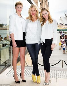 I need what Cameron Diaz is wearing! Welcome to Sydney! (From left to right) Katie Upton, Cameron Diaz and Leslie Mann arrived in Sydney on Tuesday to promote their new movie
