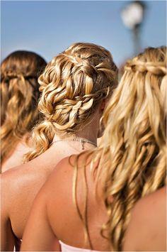 bridesmaid braid wedding hair ideas #bridesmaids #weddinghair #weddingchicks http://www.weddingchicks.com/2014/03/04/funky-seaside-wedding/