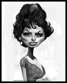 Caricature Sophia Loren [Copyright Nelson Santos] by caricaturas, via Flickr