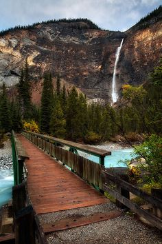 Waterfall Bridge, The Canadian Rockies, bridge, bro, mountain, water, architechture, wooden boards, stunning view, photograph, photo