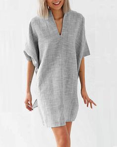 Elegant Batwing Sleeve V Neck Pure Colour Dress – modevova , dress casual outfits, casual dress outfit fall, fall dresses casual Batwing Dress, Batwing Sleeve, Mode Plus, Evening Dresses Plus Size, Casual Summer Dresses, Dress Casual, Fall Dresses, Casual Outfits, Party Outfits