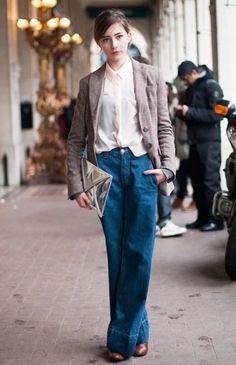 Oversized denim, airy blouse, relaxed blazer