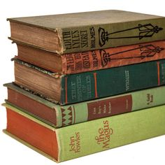 Set of Red & Green Old Books for Decor Book Gifts Vintage