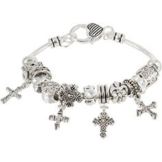 Heirloom Finds Cross Theme European Bead Religious Bracelet with Dangling Charms >>> To view further for this item, visit the image link.