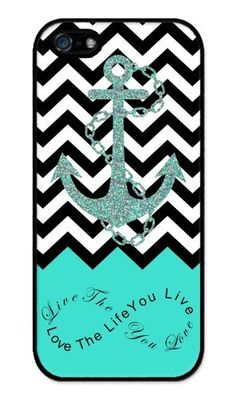 Live the Life You Love, Love the Life You Live. Turquoise Black White Chevron with Anchor Rubber iPhone 5 / iPhone 5S Case - Fits iphone 5, iPhone 5S T-Mobile, AT&T, Sprint, Verizon and International by Phantasmic Arts, http://www.amazon.com/dp/B00DE0YP72/ref=cm_sw_r_pi_dp_YBUGsb1EKXYMH