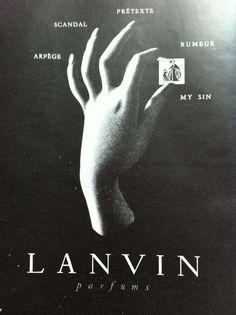 Antique French Ad Lanvin Perfume Arpege My Sin Paris