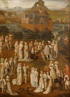 Fête Champêtre à la cour de Bourgogne.Sur cette toile attribuée à Jan van Eyck apparaissent les armoiries portées par Philippe le Bon après son héritage du Brabant et du Limbourg,mais pas encore le collier de la Toison d'or rendu obligatoire le 3 décembre 1431