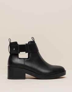 Pull&Bear - footwear - boots and ankle boots - cut out ankle boots with buckle - black - 11000111-V2016
