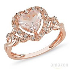 ♥ Rose Gold Morganite and Diamond Ring ♥