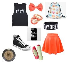 """""""First Day Of School Outfit Idea #4"""" by mylifeaseva2 ❤ liked on Polyvore featuring Converse, H&M, Ruby Rocks and Topshop"""